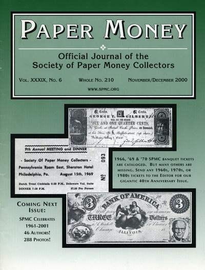 Paper Money - Vol  XXXIX, No  6 - Whole No  210 - November